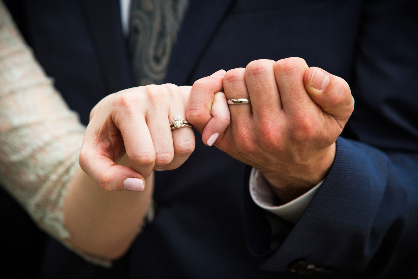 Wedding rings on bride and groom hands