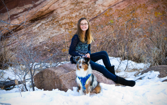 Aria with Rocko posing at Red Rocks