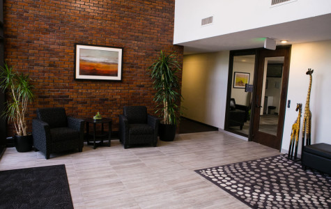 Building entry way and sitting area