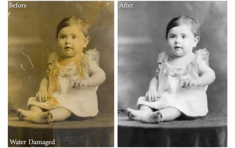 Water Damaged Photo Restoration Sample